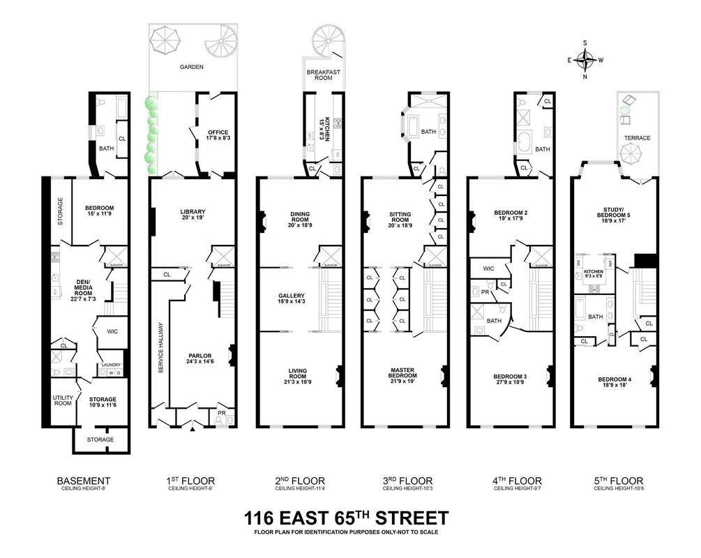 Ghislaine's townhouse floor plan. Link to Street Easy