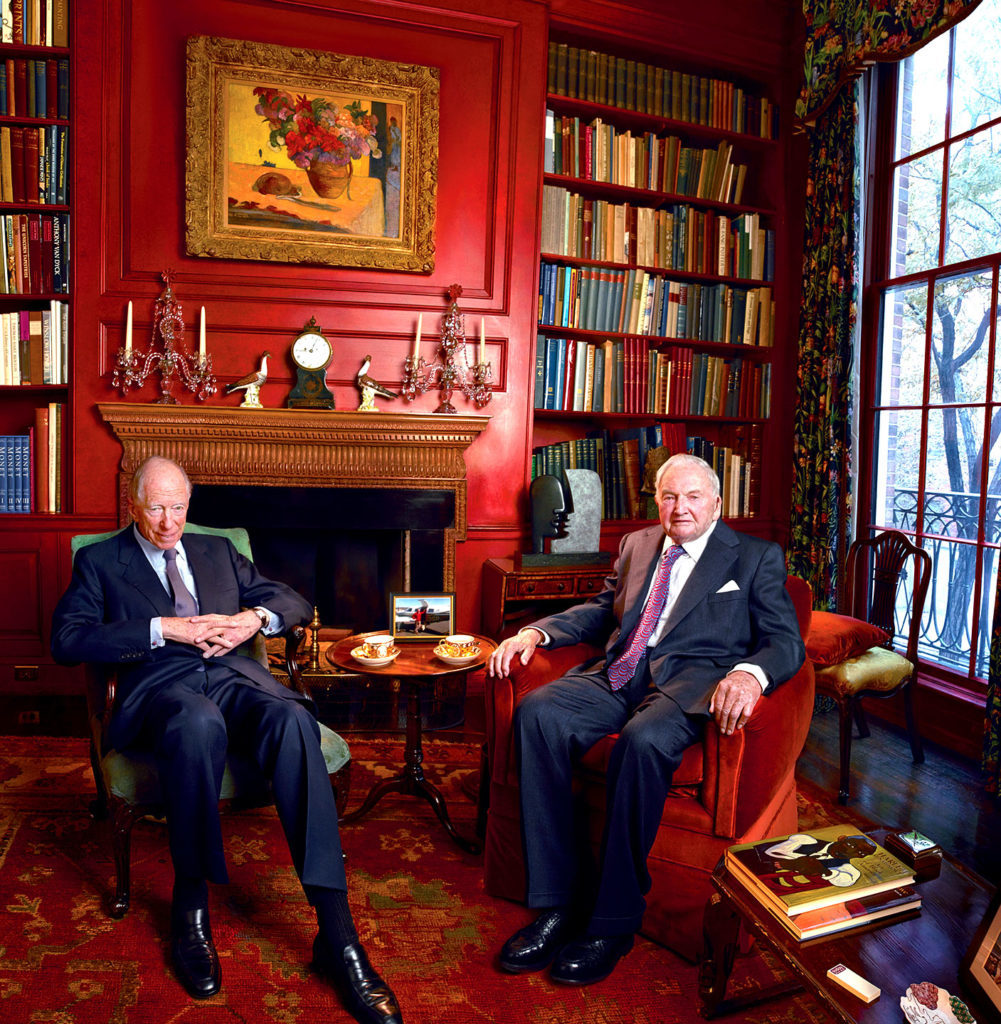 The patriarchs, Jacob Rothschild and David Rockefeller. Link to Jeffrey Harris Design.com