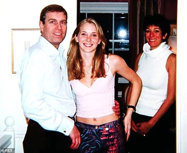 Prince Andrew, Virginia Roberts and Ghislaine Maxwell. Link to Daily Mail